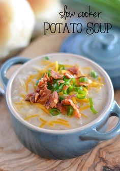 This Slow Cooker Potato Soup is creamy and comforting, and requires little effort - it's the perfect weeknight meal for a chilly night!