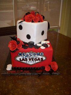 las vegas cake minus the flowers.... do cards instead