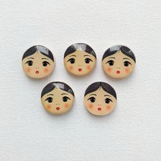 doll face painting Brunette doll face cabochon Nesting doll cabochon Matryoshka face cabochon Russian style print resin cabochon Jewelry crafts making Use Doll face cabochons fo Diy Projects To Try, Crafts To Make, Doll Face Paint, Matryoshka Doll, Holiday Jewelry, Pebble Painting, Doll Head, Jewelry Crafts, Russian Style