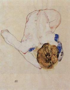 egon-schiele-forwards-bent-feminine-act Egon Schiele paintings  plastic arts, visual arts, art