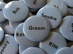 A great way to get to know each other. Wedding Day Name Button Pin Badges. Personalised to your specification.