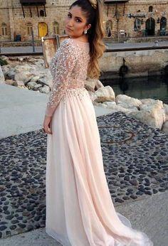A-line Chiffon Bateau 2015 Prom Dresses Beading Evening Dresses 5a78d6f84b46