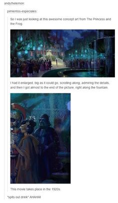 Princess and the frog concept art, Darth Vader cameo