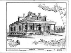 Bagatelle Plantation, Louisiana::Southern Style Houses:: Southern Plantation Style Home Plans::Antebellum House Plans::Creole Homes::Early American Homes Southern Plantation Style, Plantation Style Homes, Southern Style, Bungalow House Plans, Cottage House Plans, Farm Cottage, Mississippi, Ascension Parish, Modern Houses