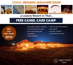 FREE CAMEL CARE CAMP at Joggan Jaisalmer Camps, Jaisalmer on 28th March & 29th March, 2016 #‎CamelCare‬ | ‪#‎CamelCamp‬ | ‪#‎CamelCareCamp‬ | ‪#‎Jaisalmer‬