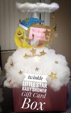 Gift Card Box Twinkle twinkle little star It's a girl Baby sleeping in clouds Baby sleeping on the moon Baby shower Baby Shower Menu, Baby Shower Tags, Baby Shower Parties, Baby Shower Themes, Baby Boy Shower, Baby Shower Decorations, Baby Shower Invitations, Baby Shower Gifts, Shower Ideas