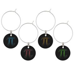 Colored Pi Wine Charms - Black