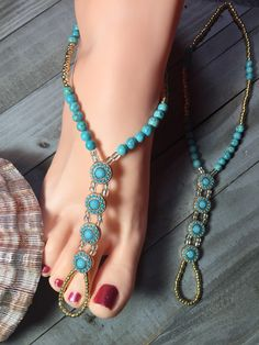 Barefoot Sandals, turquoise foot jewelry, anklet, bohemian foot jewelry, women's fashion, destination wedding, beachside/tropical
