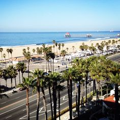 Huntington Beach, California. View of the famous Huntington Beach Pier and the Pacific Coast Highway
