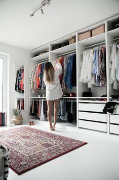 my dressing room - open Ikea Pax wardrobe. white dressing room - my dressing room – open Ikea Pax wardrobe. Walk In Closet Design, Bedroom Closet Design, Master Bedroom Closet, Closet Designs, Home Bedroom, Ikea Bedroom, Bedroom Furniture, Bedroom Decor, Bedroom Wall