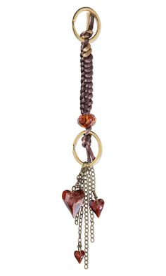Jewelry Design - Key Fob with Swarovski Crystal Beads and Drops, Rattail Cording and Antiqued Brass Steel Chain - Fire Mountain Gems and Beads