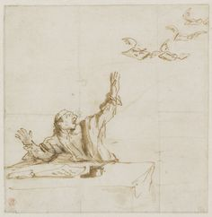 Pier Francesco Mola (1612–1666), Caricature of a man with four flying letters; Allegory on the press | V&A