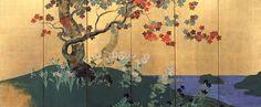 江戸 鈴木其一 「四季花木図屏風」(左隻)
