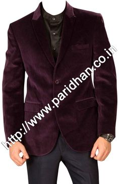 Slim fit two button north lapel mens coat made from black color uncrushable velvet fabric. Dry clean only.
