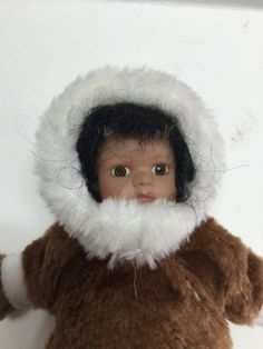 Vintage baby Eskimo Anchorage Alaska Kipmik products porcelain face baby doll collectable fur coat by Bayleesncream on Etsy