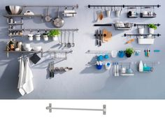 IKEA Grundtal and Fintorp hanging storage systems. Ikea Grundtal Kitchen, Fintorp Ikea, Kitchen Ikea, Small Kitchen Tables, Open Kitchen, Kitchen White, Kitchen Rails, Kitchen Wall Storage, Ikea Shelves