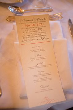 menus with thank you notes   Captured Photography #wedding