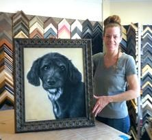 Work from our friends -- Denise with a pet portrait done by Open Studios artist Leah Knecht.