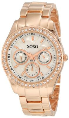 XOXO Women's XO5386  Rhinestone Accent Rose Gold Bracelet Watch -      $  19.99  chronograph dials are for decorative purposes onlyquality quartz movement with analogue-displayjewelry claspCase diameter: 38mmClear rhinestone accent bezel  A gorgeousl