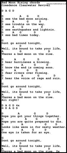Song Lyrics with guitar chords for Bad Moon Rising | Songs ...