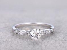0.62 Carat Round Diamond Anniversary Ring 14K White Gold Wedding Rings Size 6 7