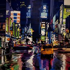 Patrick Kinn is an artist represented by the Shayne Gallery with a graphic style. Patrick Kinn est un artiste un style graphique. City Life, Times Square, Canvas, Artwork, Travel, Image, Style, Artist, Tela