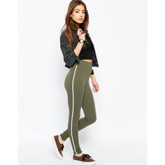 ASOS Leggings with Contrast Binding ($28) ❤ liked on Polyvore featuring pants, leggings, khaki, white leggings, matte leggings, high waisted leggings, white high waisted leggings and tall pants