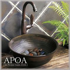 陶芸作家による味わい深い手洗い鉢◆Mサイズ◆ Sink, Home Decor, Decor