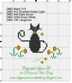 Happiness is Cross Stitching : Free Easter Cat pattern from mini series of cats and matching gift tags!