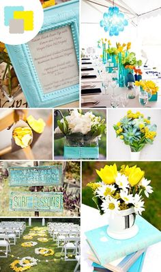 Sunshine yellow and aqua Perfect for modern spring weddings, this cheerful combo works just as well on the beach as it does in a garden. Play up the light blue in details like signs and linens, and bring in the yellow in the florals and of course in your invitations.