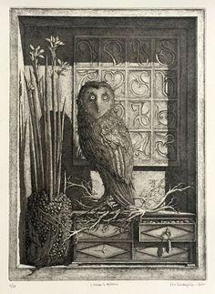 """From Childs Gallery, Boston. """"L'Oiseau de Minerve"""" by Erik Desmazières, (French (b.1948)),"""