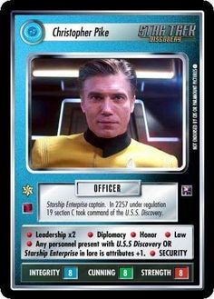 Captain Pike Star Trek Ccg, Star Trek Ships, Uss Discovery, Anson Mount, Nbc Series, Hell On Wheels, Starship Enterprise, Collector Cards, Star Trek Universe