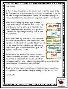This parent letter accompanies a behavior clip chart and class rules. Very helpful ($)