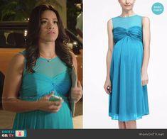 Jane's blue reunion dress on Jane the Virgin.  Outfit Details: http://wornontv.net/48623/ #JanetheVirgin