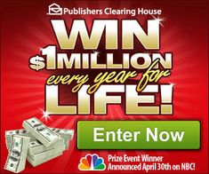 PCH Win 10 Million Dollars Sweepstakes Instant Win Sweepstakes, Online Sweepstakes, 10 Million Dollars, Win For Life, Win Cash Prizes, Publisher Clearing House, Winning Numbers, Who Will Win, Letter Example