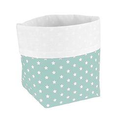 Sugarapple Utensilo Stoff Aufbewahrungsbox aus Baumwolle 19 x 13,5 x 13,5 cm, Stoffbox fürs Bad, als Wickeltisch Organizer oder Windelspender Korb, Mint Sterne weiß