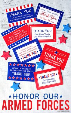 "Free Printable ""Honor Our Armed Forces"" Cards - a small but meaningful way to…"