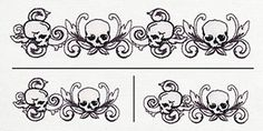 Toile Noir - Skull Border Horizontal (Split) design from… Border Embroidery, Embroidery Designs, Tattoo Sketches, Art Sketches, Husband Tattoo, Skull Coloring Pages, Stencil Templates, Stencils, Finger Tats