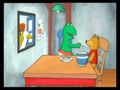 Kikker vindt een vriendje. Kikker vindt een beer in het bos en neemt hem mee naar huis.