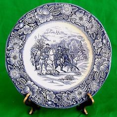"9"" STAFFORDSHIRE Liberty Blue Historic Colonial Scenes 8 Dinner Plates England"
