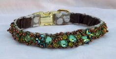 Green and Bronze Shimmer Luxury Dog Collar Hand Beaded with Glass Beads and Rhinestones Dog Treats Grain Free, Diy Dog Treats, Puppy Treats, Retriever Puppy, Dogs Golden Retriever, Dog Belt, Luxury Dog Collars, Dog Cakes, Yorkshire Terrier Dog