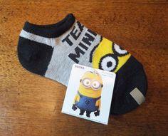 NWT Kids Despicable Me Socks MINION Socks Grey TEAM MINION  Size 5 1/2 - 6 1/2  #DespicableMeMinions #AnkleSocks