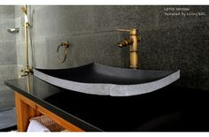 "24"" Black Granite Natural stone Vessel Sink LOTUS SHADOW"