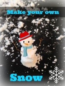 make your own snow! baking soda and shaving cream. It's cold on it's own so that makes it more fun!