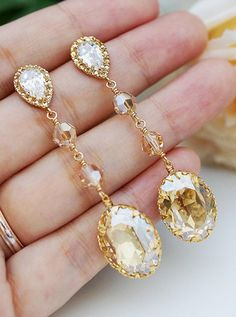 Golden shadow swarovski crystal earrings.