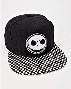 Checkered Jack Skellington Snapback Hat - The Nightmare Before Christmas -  Spencer s 6148093319a9