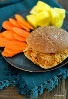 Easy Slow-Cooker Hawaiian Barbecue Chicken Sandwiches | The eMeals Blog