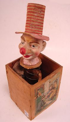 vintage toy Antique Jack in - toys Antique Toys, Vintage Toys, Vintage Antiques, Antique Decor, Jack In The Box, Creepy Toys, Creepy Stuff, Scary, Victorian Toys