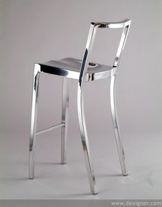 Emeco, the Aluminum Chair Company, will launch a new design by the internationally renowned architect, Philippe Starck, at Milan's 2006 Salone Internazionale del Mobile this April. Plywood Furniture, Design Furniture, Luxury Furniture, Modern Furniture, Philippe Starck, Bar Chairs, Bar Stools, Chaise Bar, Decoration Design