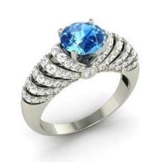 Blue Topaz and Diamond  Ring in 14k White Gold (1.83 ct.tw.) - Glad